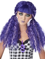 Purple Crimped Doll Wig