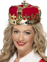 Queens Jewelled Crown Red Fabric