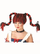 Rag Doll Red and Black Wig [70641]