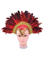 Red Feather Helmet with Jewel and Plume [BA071A]