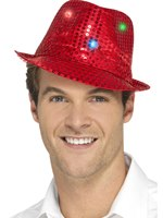 Red Light Up Sequin Trilby Hat [47066]