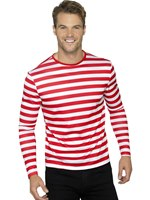 Red Long Sleeved Stripy T-Shirt [46830]