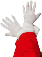 White Fabric Santa Gloves