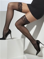 Sheer Black Fishnet Lace Hold Ups