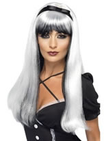 Adult White and Black Bewitching Wig