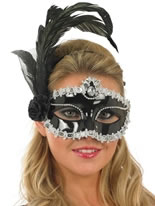 Silver and Black Feather Eye Mask