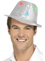 Silver Light Up Sequin Trilby Hat [47068]
