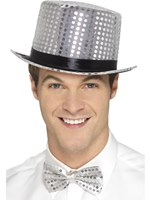 Silver Sequin Top Hat [48262]