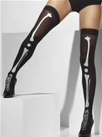Skeleton Print Thigh High Stockings