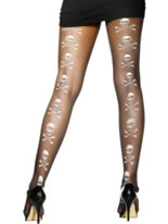 Skull And Crossbones Tights Black With White