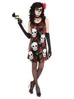 Skull and Roses Sequin Dress