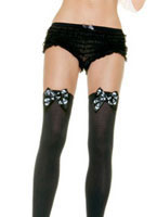Skull Bow Thigh Highs