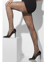 Spiderweb Tights Black With White