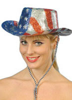 Stars And Stripes Glitter Cowboy Hat Pvc