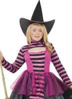 Childrens Stripe Dark Witch Costume [24579]