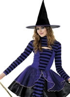 Teen Stripe Dark Fairy Witch Costume [21413]