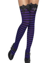 Striped Thigh High Stockings Black and Purple [20913]