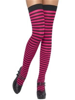 Striped Thigh High Stockings Pink and Black
