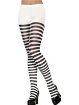 Striped Tights Black White