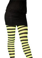 Striped Tights Green and Black Plus Size