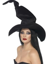 Tall And Twisty Witches Hat Black Velour