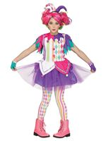 Teen Colourful Harlequin Clown Costume
