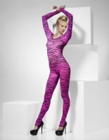 Adult Pink Zebra Print Body Suit [33869]