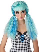Turquoise Crimped Doll Wig