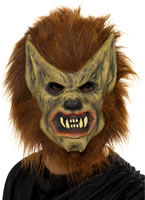 Werewolf Mask Brown Rubber