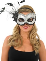 White and Black Sequin Eye Mask