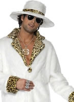 Adult White and Leopard Skin Pimp Costume