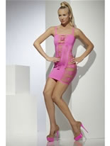 Wide Net Pink Clubwear Dress