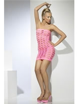 Adult Wide Net Pink Clubwear Tube Dress