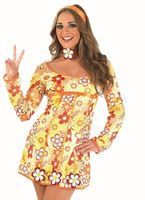Adult Yellow Hippie Dress Costume