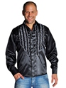 Adult 70's Mens Frilled Black Satin Shirt Thumbnail