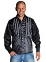 Adult 70's Mens Frilled Black Satin Shirt Thumbnail