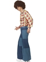 Adult 70's Denim Look Flared Trousers  - Back View - Thumbnail