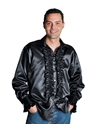 Adult 70's Mens Black Satin Shirt Thumbnail