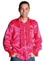 70's Mens Satin Shirt DARK PINK