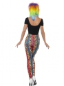 80s Neon Leopard Print Leggings  - Side View - Thumbnail
