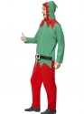 Adult Elf Onesie Costume  - Back View - Thumbnail