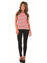 Adult Ladies Red and White Striped Top Thumbnail