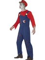 Adult Zombie Mario Plumber Costume  - Back View - Thumbnail
