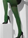 Black and Green Striped Tights  - Back View - Thumbnail