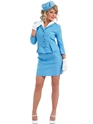 Adult Blue Cabin Crew Costume  - Back View - Thumbnail