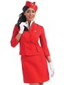 Adult Red Cabin Crew Costume  - Back View - Thumbnail