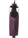 Deluxe Purple and Black Reversible Witches Cape  - Side View - Thumbnail