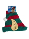 Elf Hat Green With Red Stripes  - Back View - Thumbnail