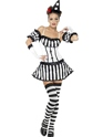 Adult Fever Clown Mime Diva Costume  - Back View - Thumbnail
