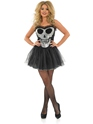 Adult Glitzy Skull Tutu Dress Costume  - Back View - Thumbnail